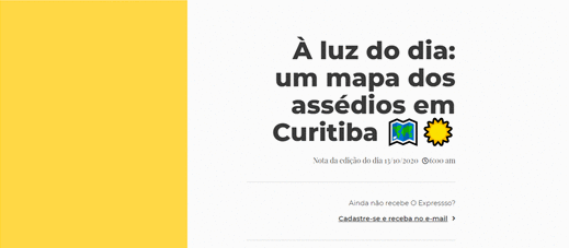 À luz do dia: um mapa dos assédios em Curitiba
